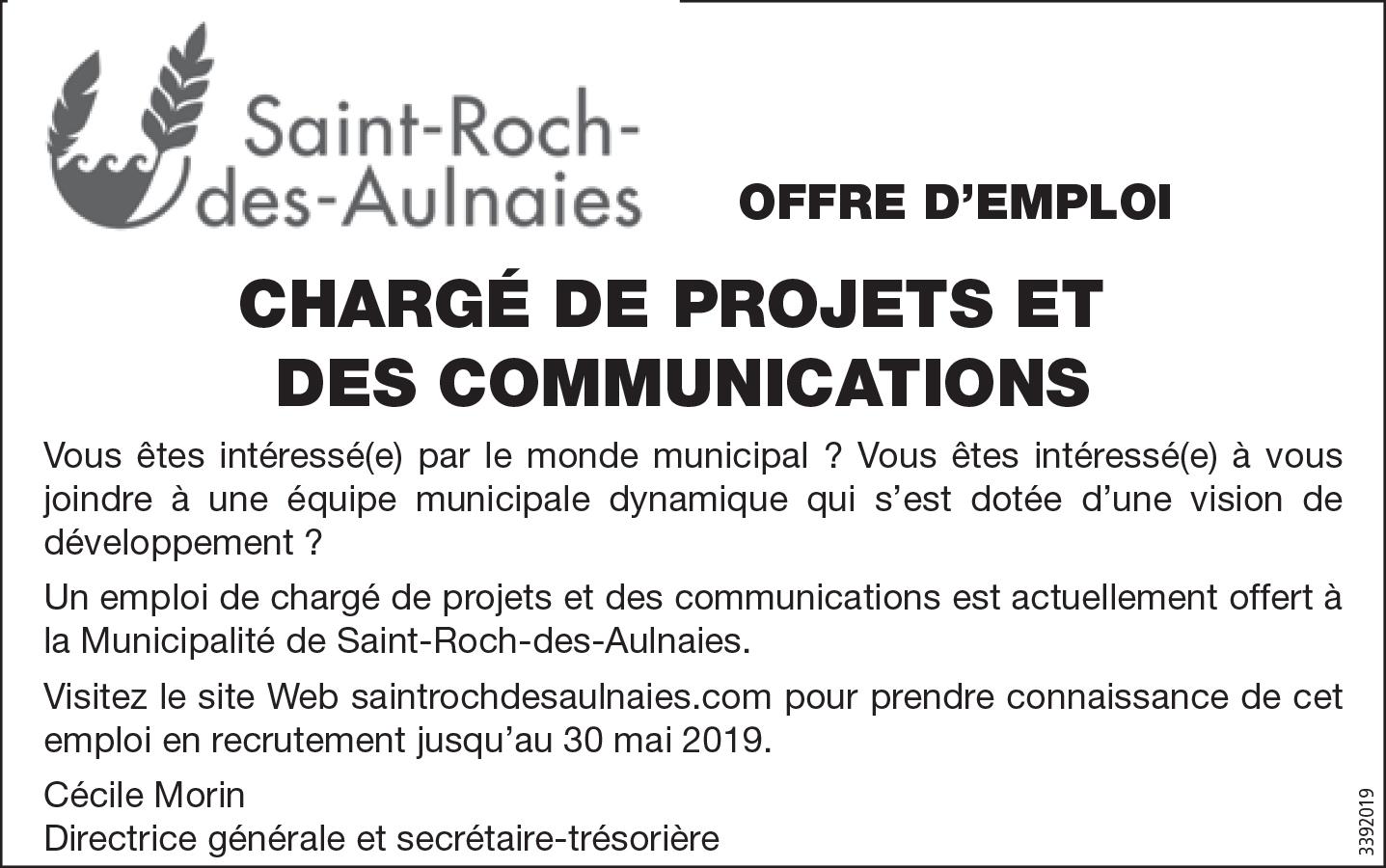 Chargé de projets et des communications