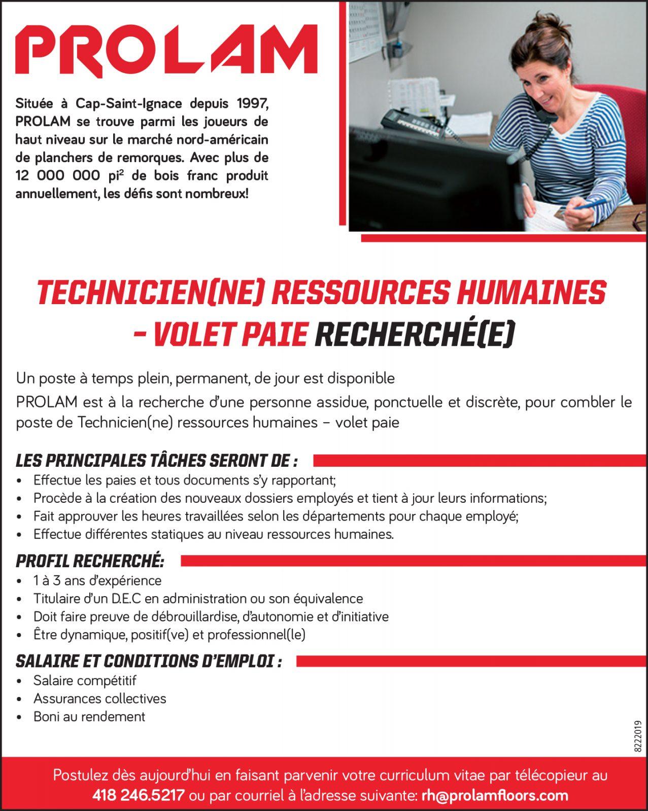 Technicienne(ne) ressources humaines – Volet paie