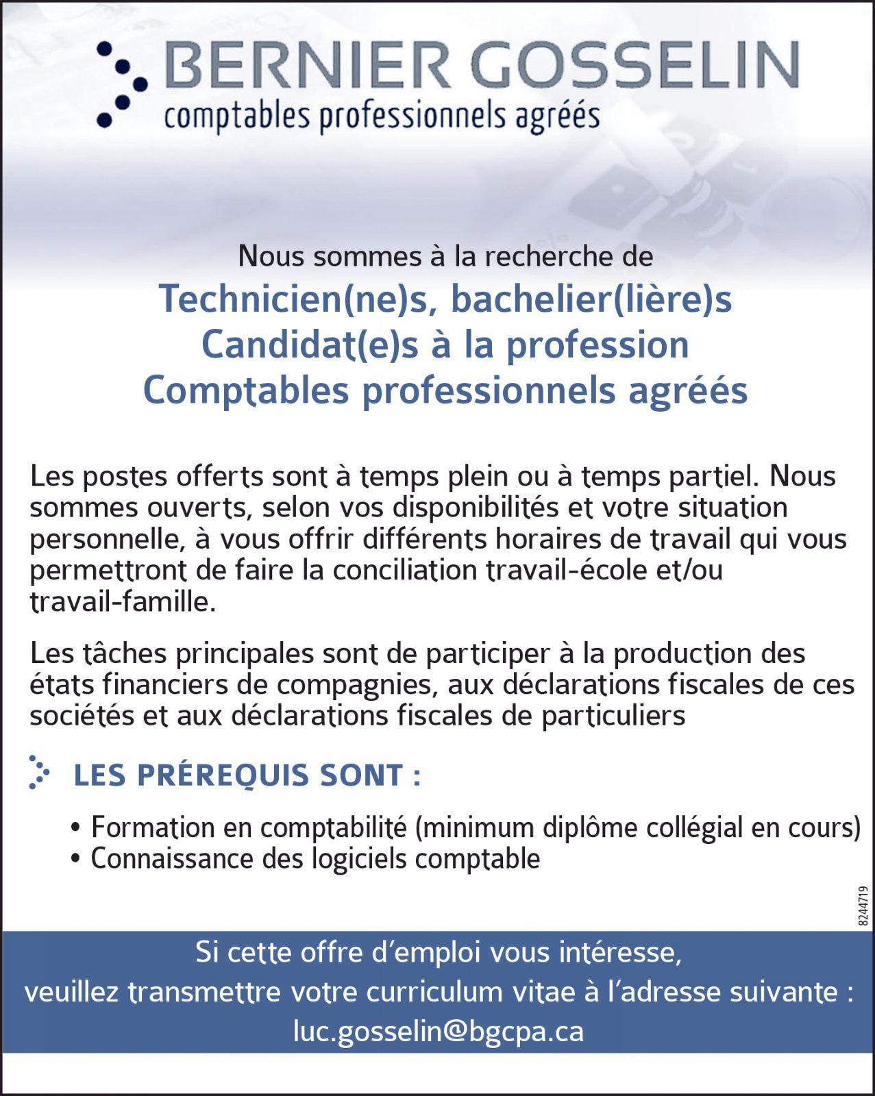 Techniciens / Bacheliers / Comptables professionnels agréés