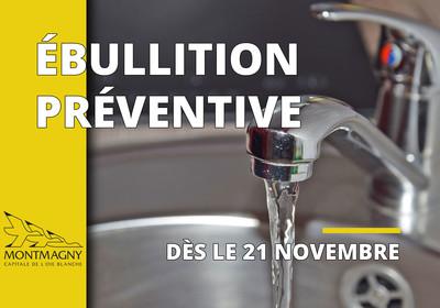 Avis préventif d'ébullition de l'eau en vigueur dès le 21 novembre à Montmagny