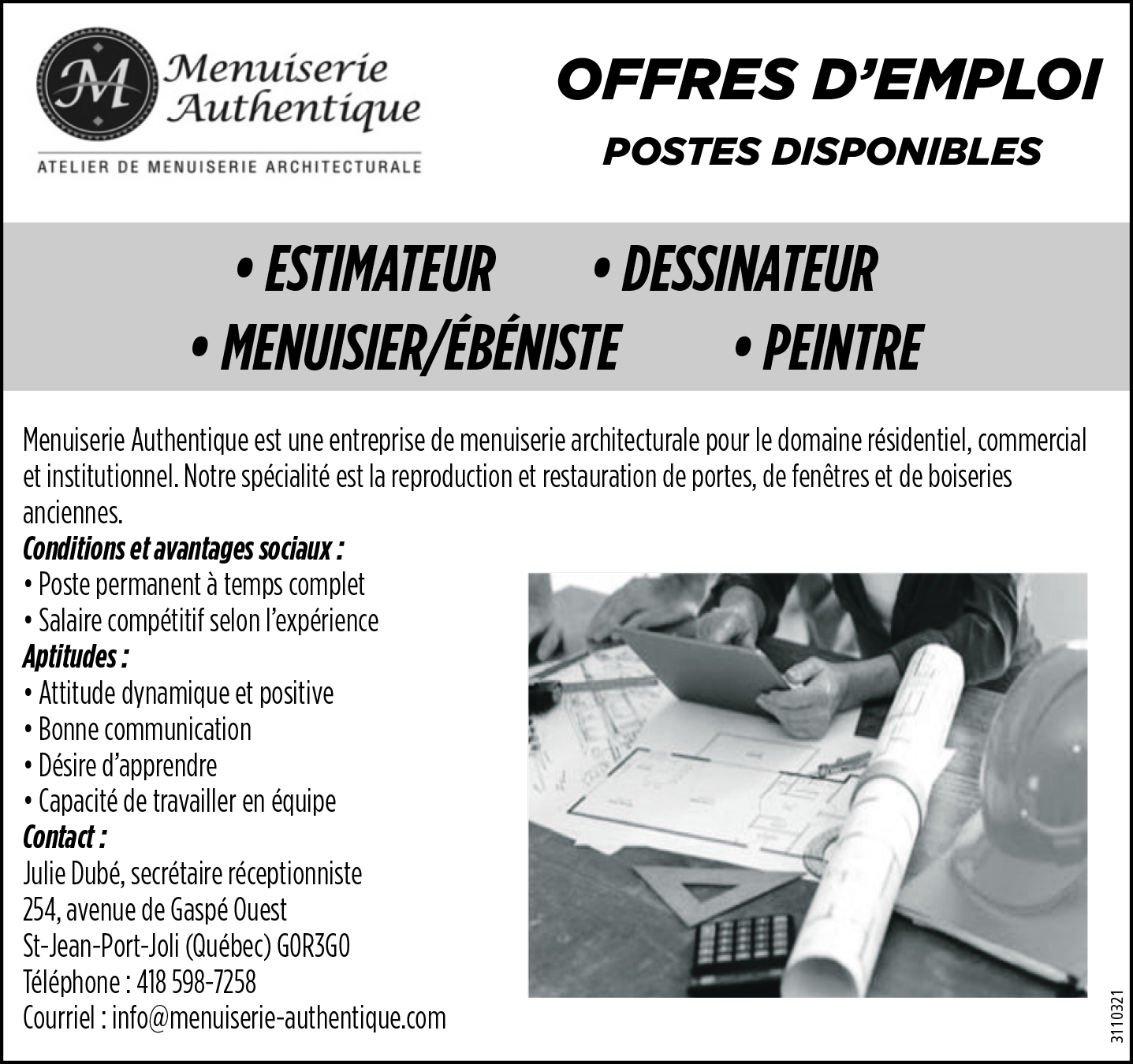 Estimateur • Dessinateur • Menuisier/Ébéniste • Peintre