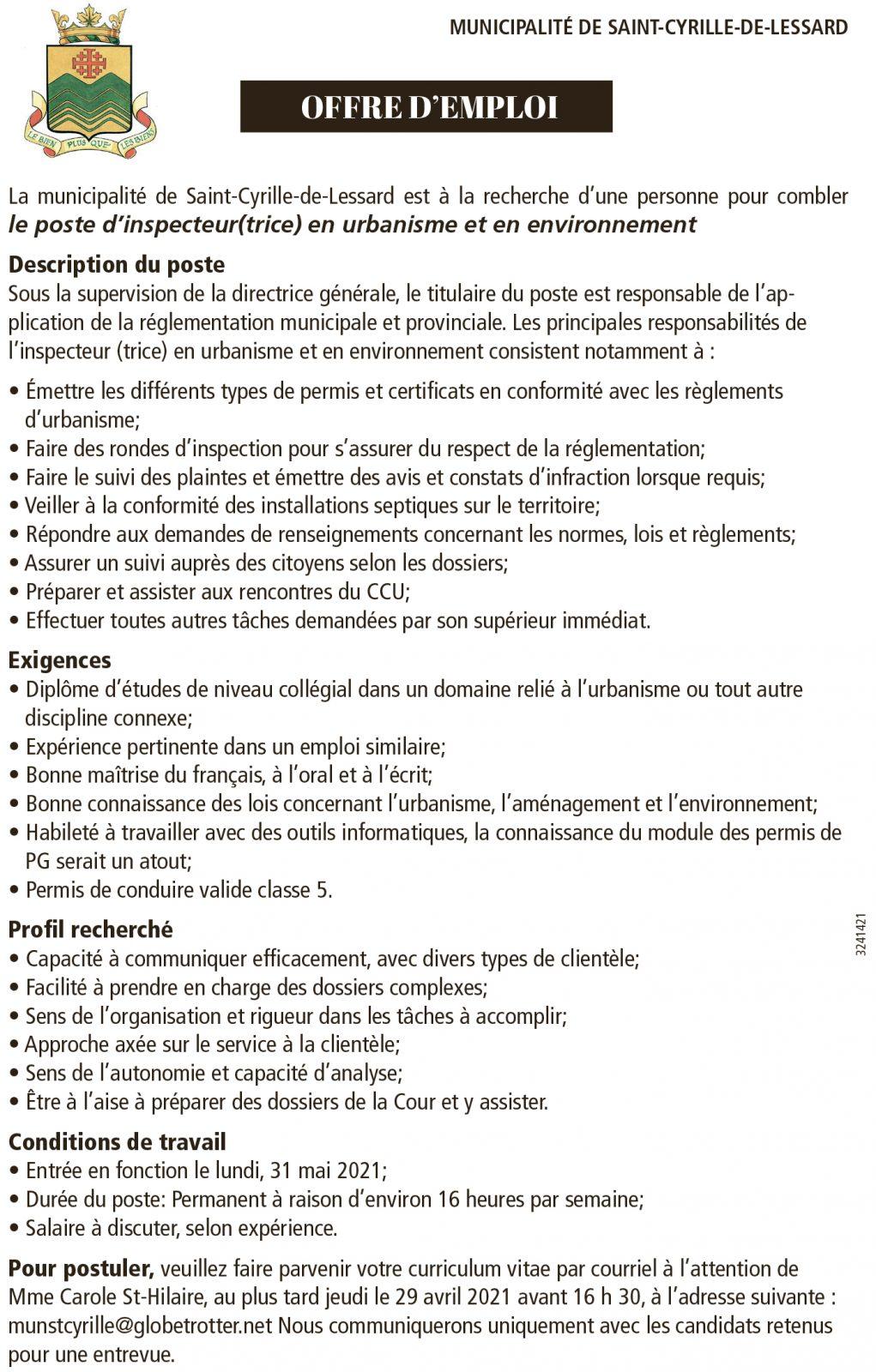 Inspecteur / Inspectrice en urbanisme et en environnement