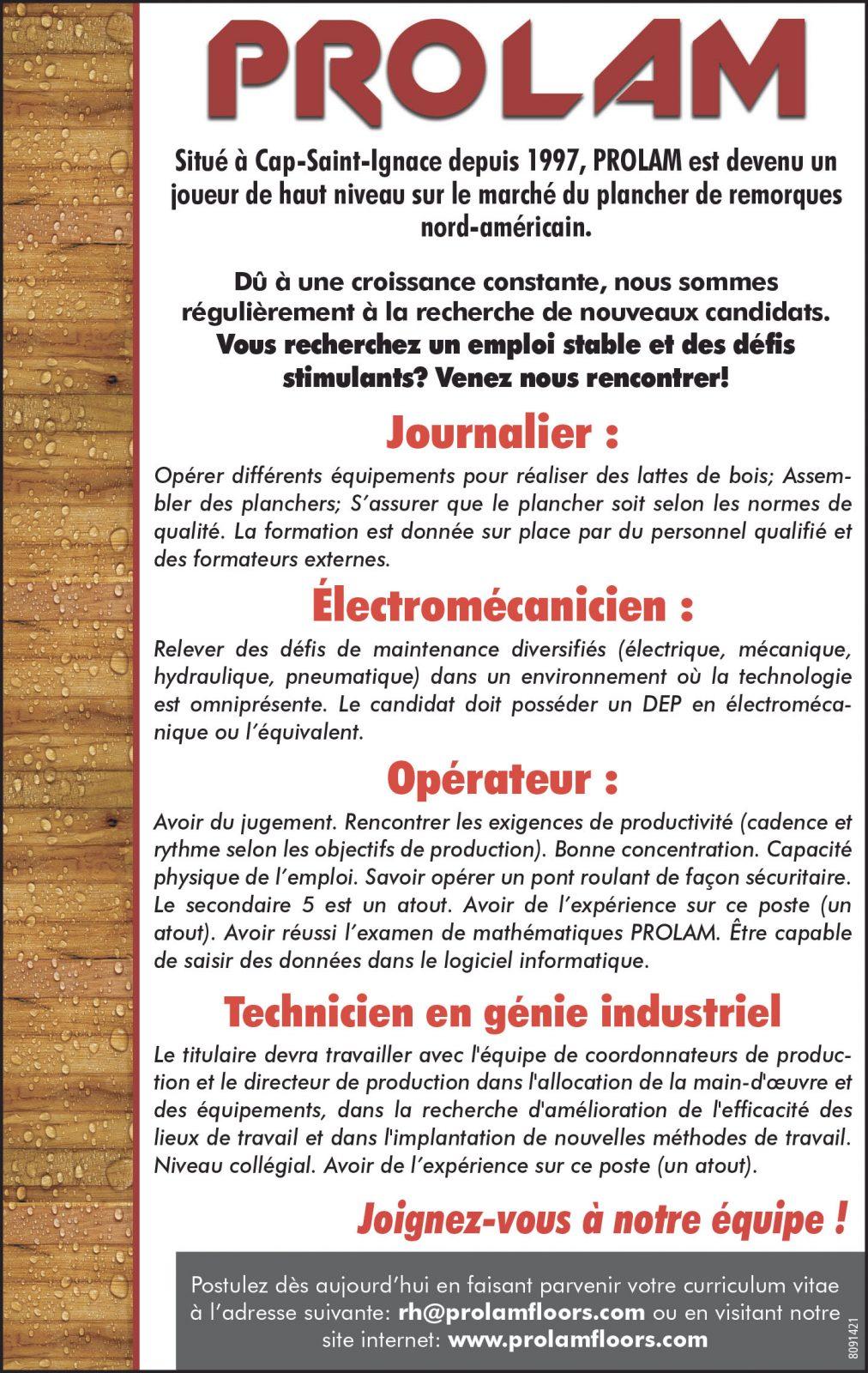 Journalier • Électromécanicien • Opérateur • Technicien en génie industriel