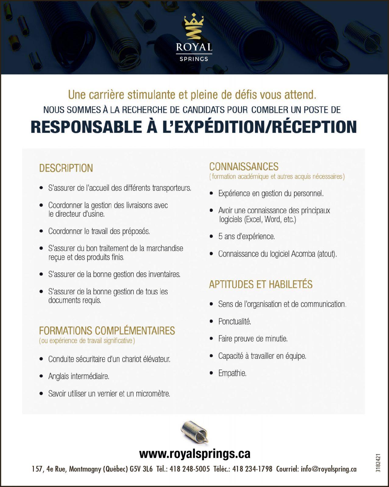 Responsable à l'expédition/réception