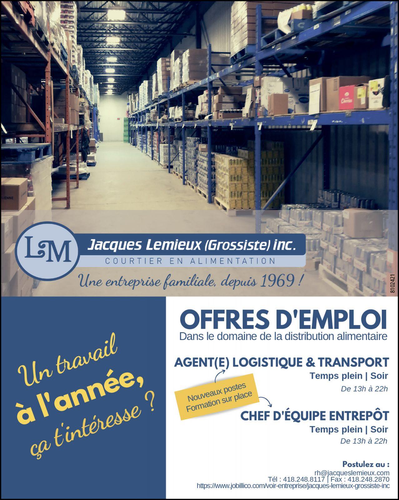 Agent(e) logistique & transport • Chef d'équipe entrepôt