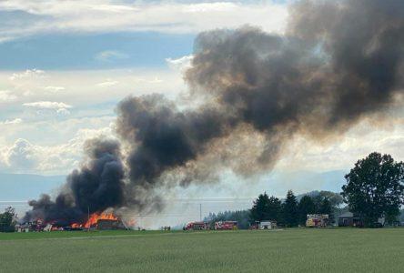 Incendie à la Ferme Duval de Saint-Roch-des-Aulnaies