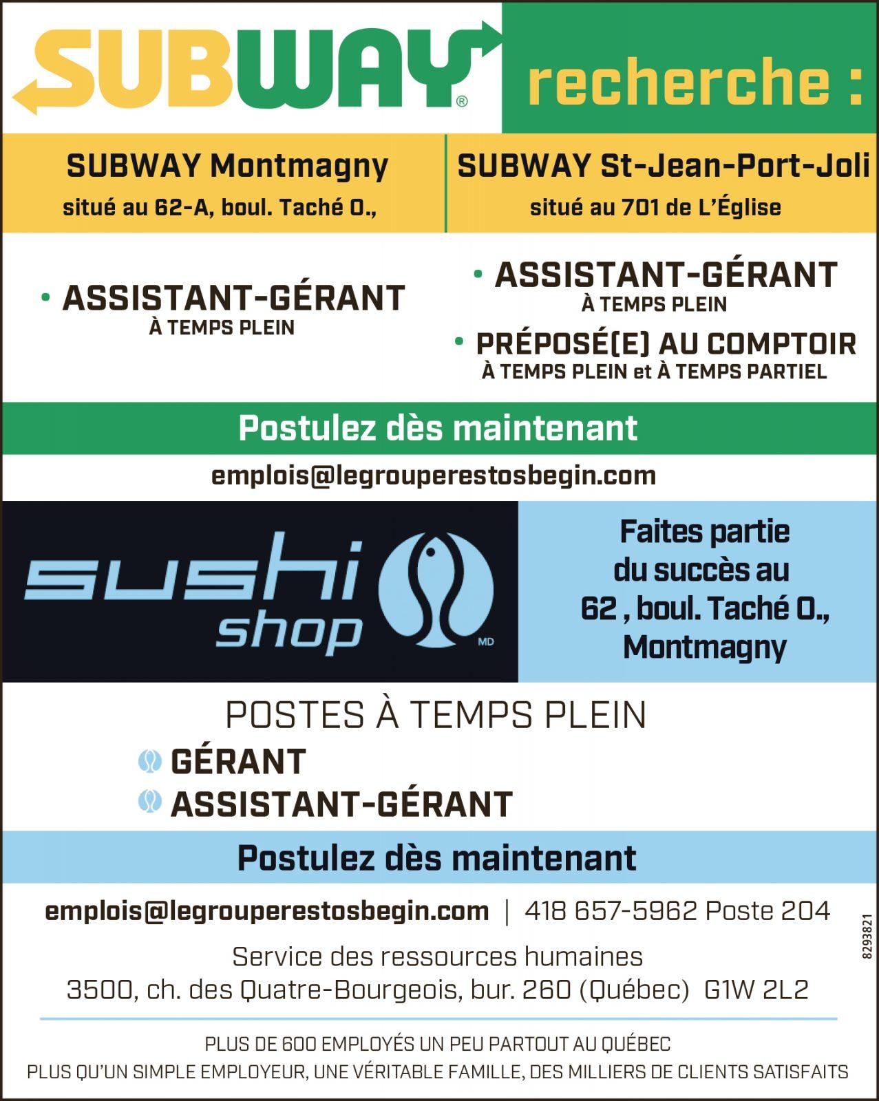 Assistant(e)-gérant(e) • Préposé(e) au comptoir